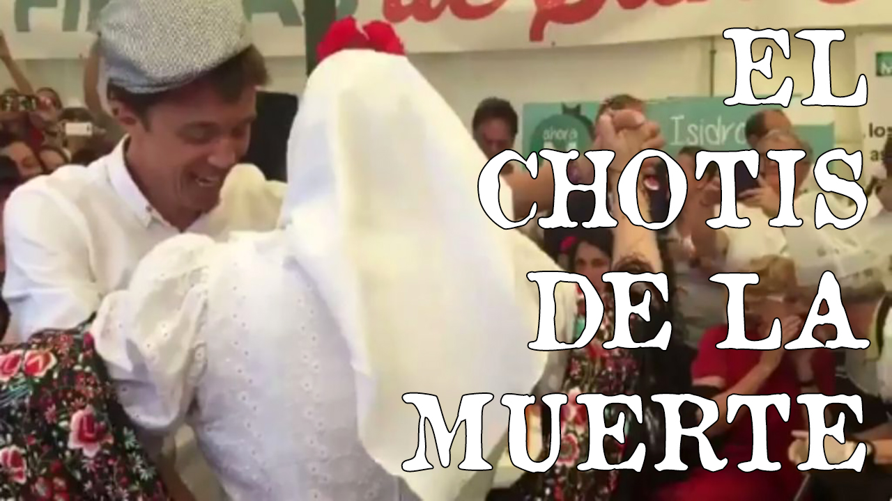 Iñigo Errejon de Podemos bailando un chotis en la Feria de San Isidro de Madrid